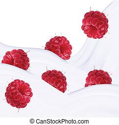 raspberries and milk splash, isolated on white background