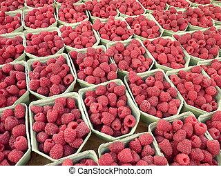 Raspberries at outdoor market