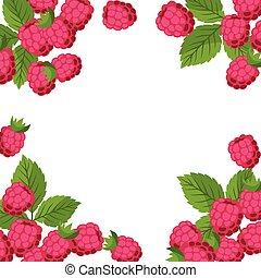 raspberries., desenho, fundo, natureza