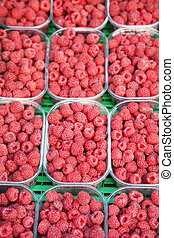 Raspberries for sale on a Market; Stall
