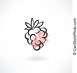 raspberries grunge icon