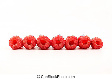 raspberries in a row on white background