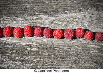 raspberries in a row