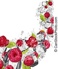 Raspberries in water splash on white background