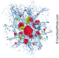 Raspberries in water splash on white background