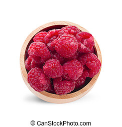 raspberries in wooden bowl isolated on white background