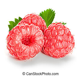 Raspberries isolated on white background.