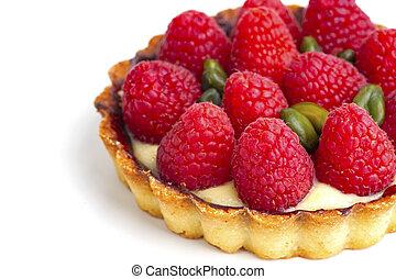 raspberries on the white