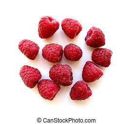 Raspberries on white 1 - Fresh red raspberries isolated on ...
