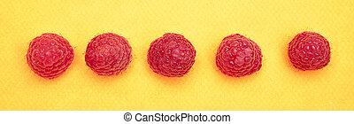 Raspberries on Yellow