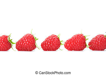Raspberries - Row of raspberries with green leaves on white