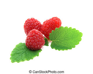 Raspberries with green leaves on white background