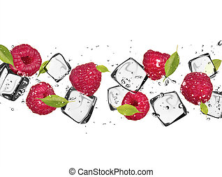 Raspberries with ice cubes, isolated on white background