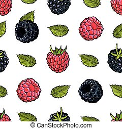 Raspberry and blackberry seamless pattern with fresh ripe fruits and green leaves in sketch style.