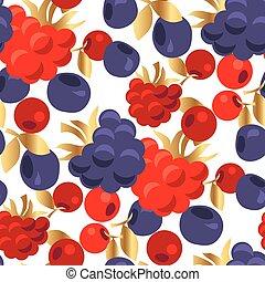 Raspberry and cranberry seamless pattern.