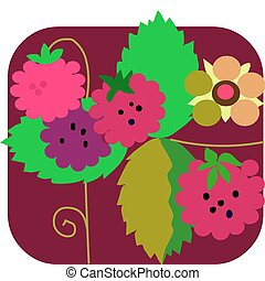 raspberry and flowers with colorful background