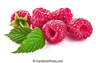 Raspberry berries with green leaf healthy food