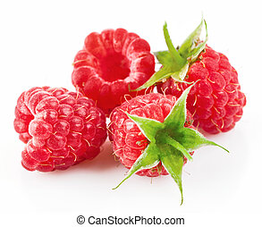 raspberry with green leaf isolated on white background