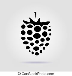 Raspberry black icon on a gray background with soft shadow