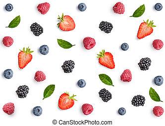 Raspberry, blackberry, strawberry and blueberry pattern