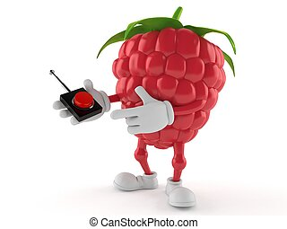 Raspberry character pushing button on white background