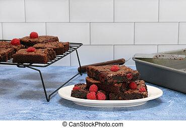 Raspberry Chocolate Fudge Brownies fresh from baking.
