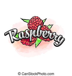 Raspberry colorful label sign