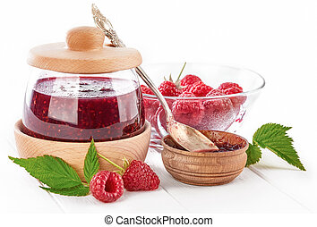 Raspberry confiture in can with fresh berries. Vector