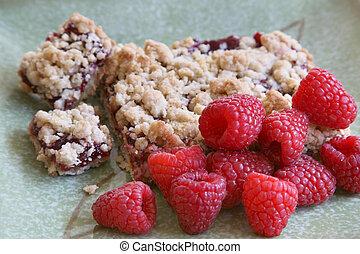 Raspberry Crumb Cake - A large piece of raspberry crumb cake...