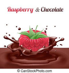 Raspberry Dipped in Chocolate with Splashes. Drop and Sweet,...
