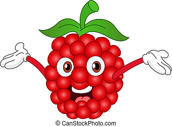Raspberry - Cartoon raspberry raising his hands
