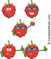 Raspberry Fruit Cartoon Mascot Character Set 1. Vector Collection