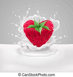 Raspberry heart with milk - Raspberry heart with green...