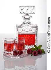 Raspberry homemade liquor - Homemade liquor made with...