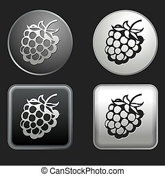 raspberry icon on round and square buttons