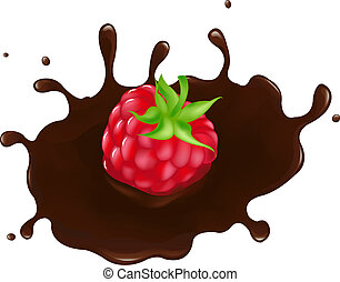Raspberry In Chocolate Splash - Chocolate-dipped Raspberry...
