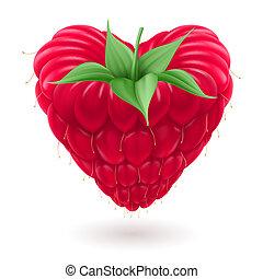Raspberry in heart shape. - Fresh raspberry with green...