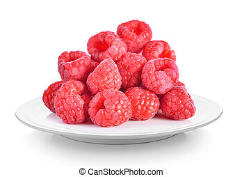 raspberry in plate on white background