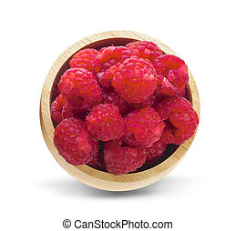 raspberry in wooden bowl isolated on white background. Top view.