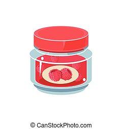Raspberry Jam In Transparent Jar
