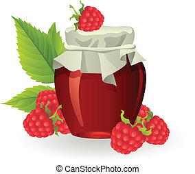 Raspberry jam with fresh raspberries