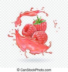 Raspberry juice Fresh fruit splash Vector illustration