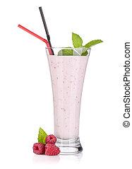 Raspberry milk smoothie with mint