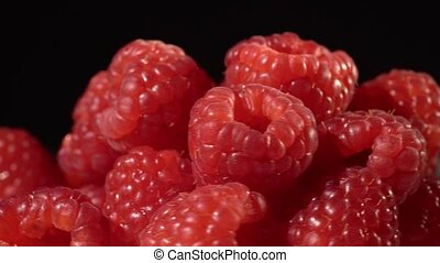 Raspberry on black background close up isolated circling