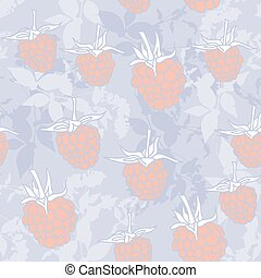 raspberry on blue background. Sketch, seamless pattern. Vector