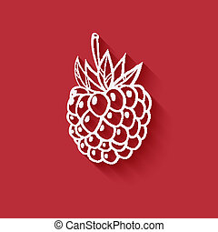 raspberry on red background