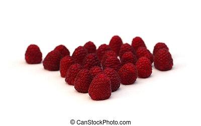 Raspberry on white, shallow depth of field
