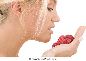 raspberry - picture of lovely woman with raspberries over ...