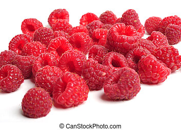 Raspberry - Red raspberry on white background, close up