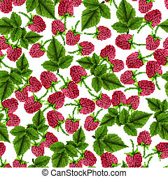 Raspberry seamless pattern - Natural fresh organic garden...